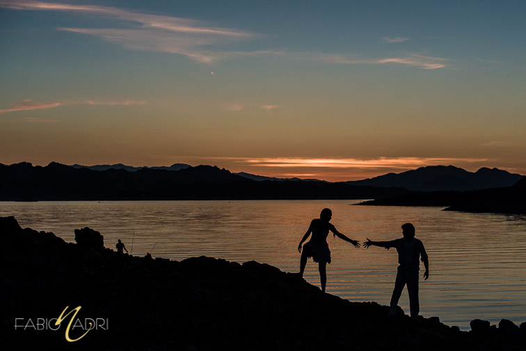 lake mead sunset trash the dress photo