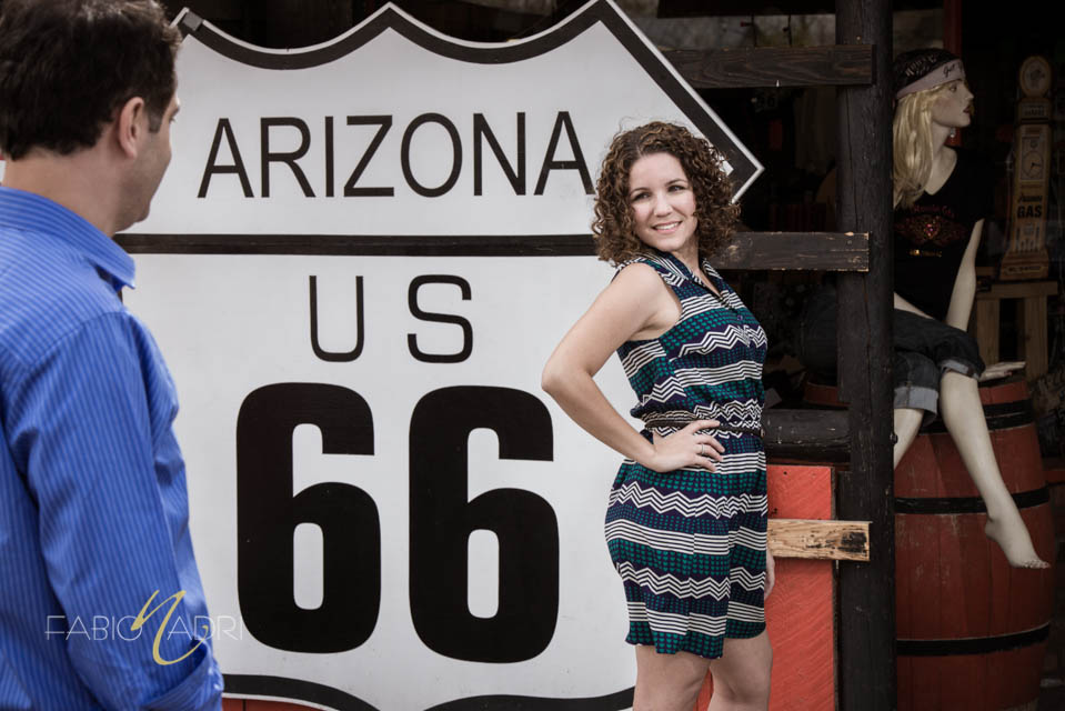 Route 66 engagement photo