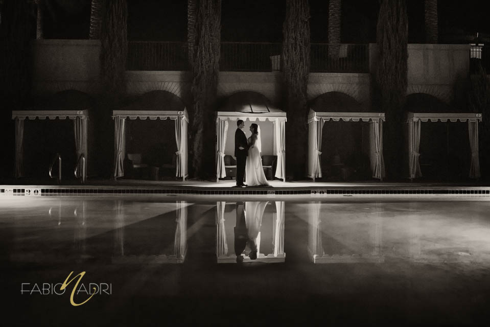 Bride groom Lake Las Vegas pool
