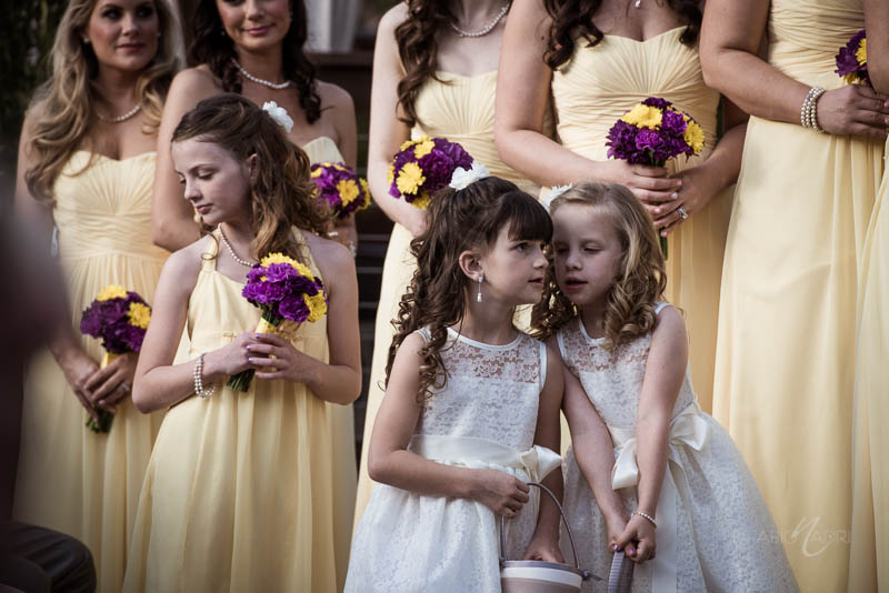 Flower girls yellow bridesmaid dresses
