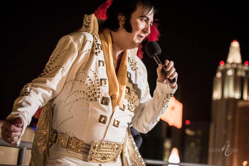 Elvis impersonator MGM Skyline Terrace suite