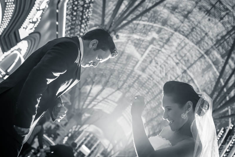 Bride groom dancing fremont street