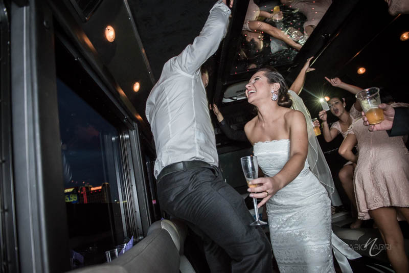 Bride groom dancing party bus