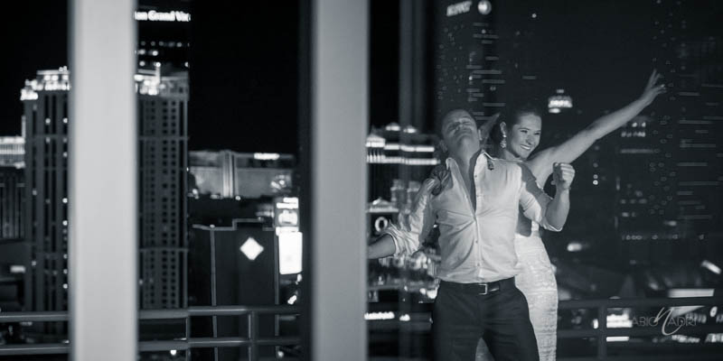 Bride groom dancing vegas skyline