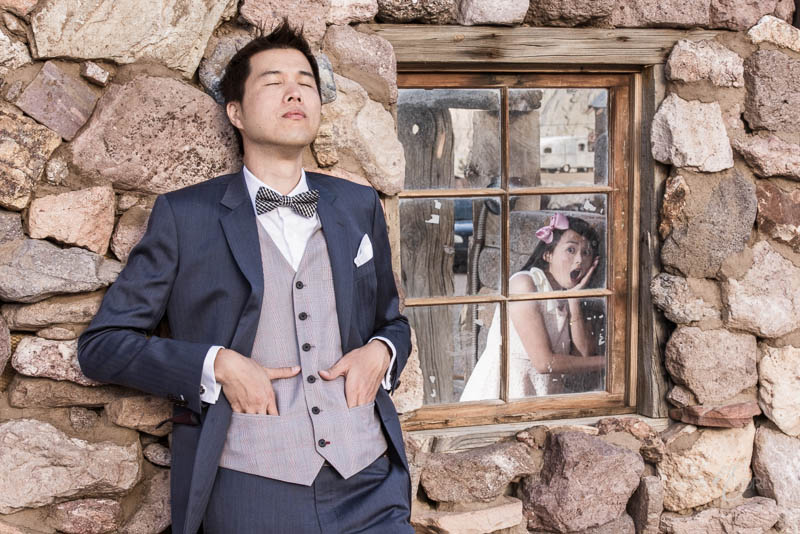 Nelson ghost town engagement photo