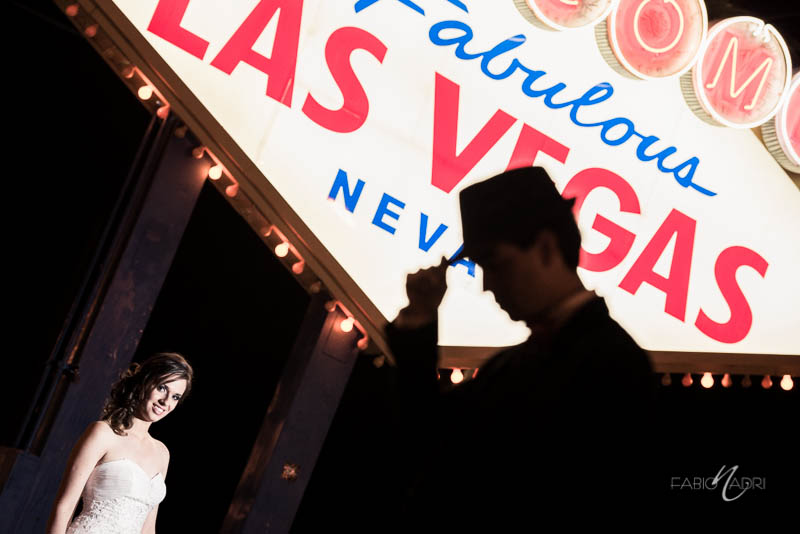 Groom silhouette Vegas sign