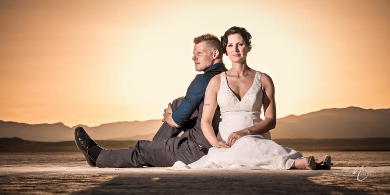 Bride groom desert sunset