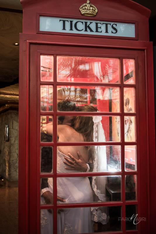 Bride groom phone cabin