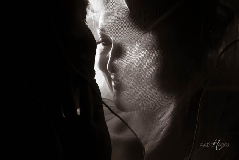 Bride silhouette veil photo