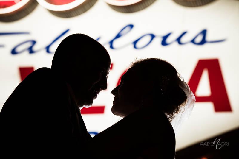 Bride groom silhouette las Vegas sign