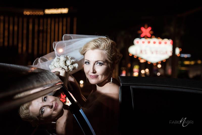 Bride portrait Las Vegas sign