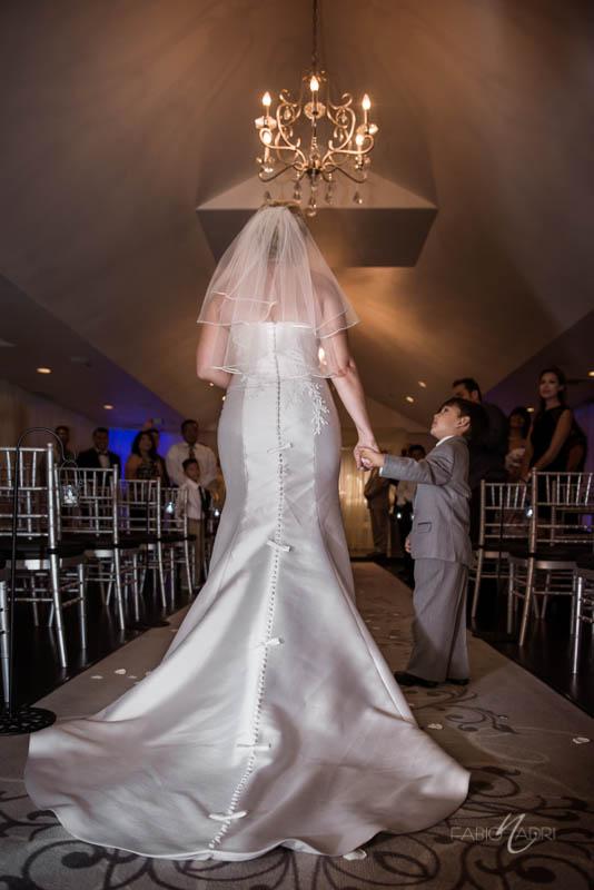 Bride walking down aisle Silver Sky Chapel at Quad