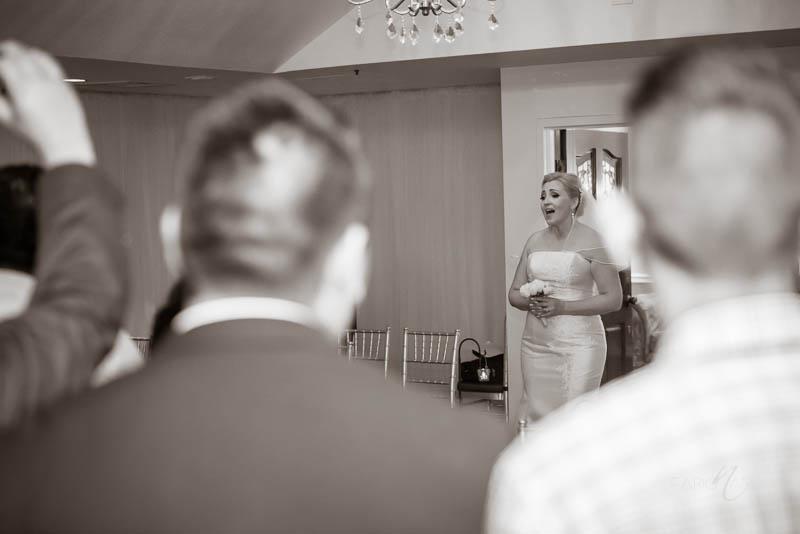 Bride singing Silver Sky Chapel at Quad