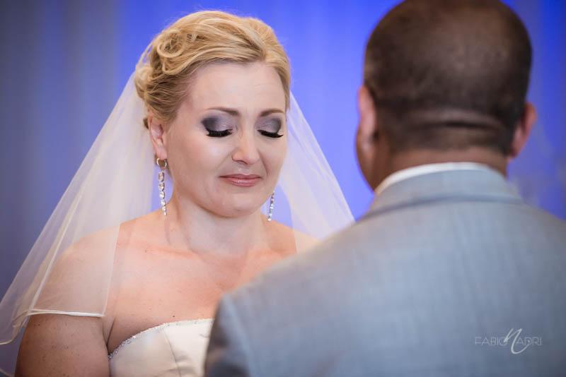 Bride tearful Silver Sky Chapel at Quad