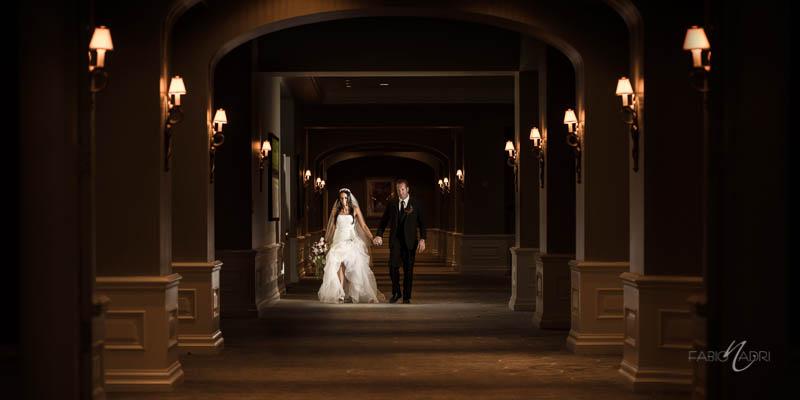Bride groom walking Four Seasons