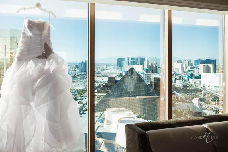 Bride gown hanging Four Season Strip
