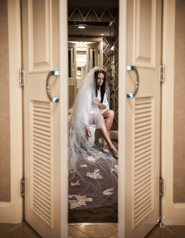 Bride cathedral veil Four Seasons Las Vegas