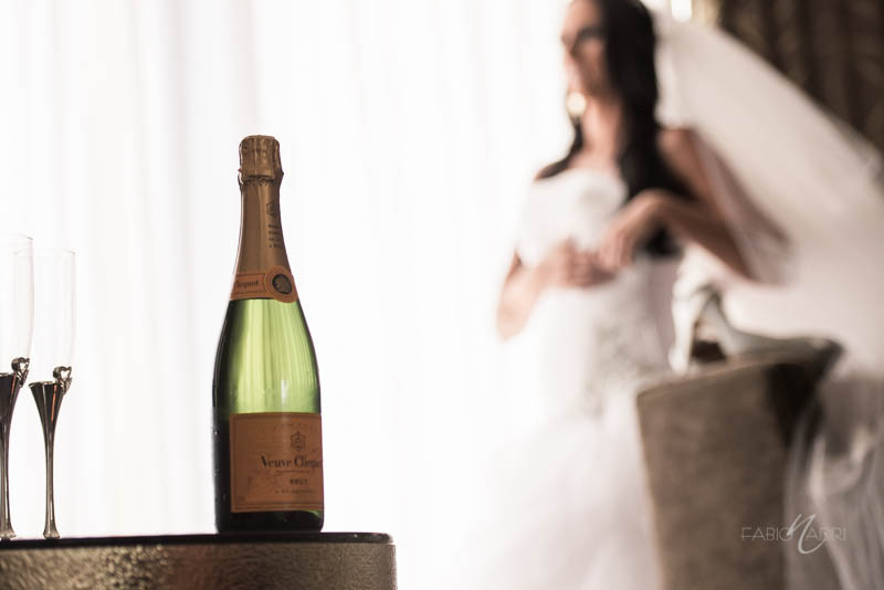 Bride getting ready champagne
