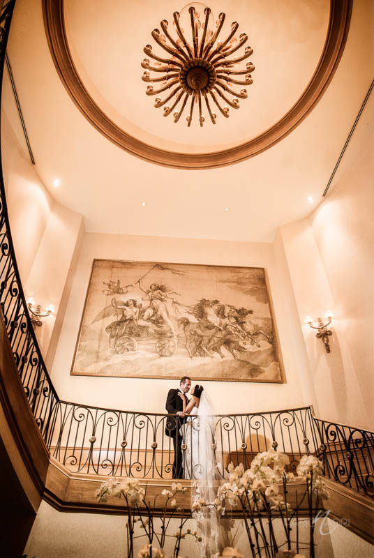 Bride groom staircase photo Four Season Las Vegas