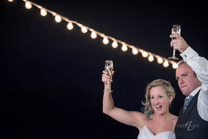 Bride groom bistro string lights