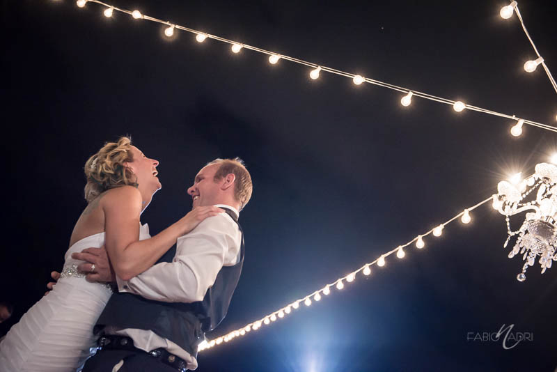 Bistro string light wedding reception