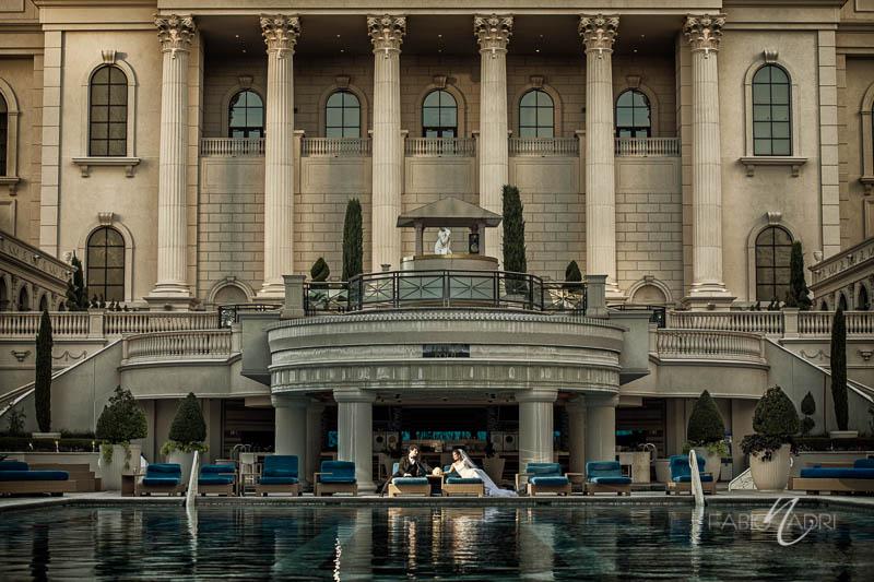Bride groom Caesars palace pool
