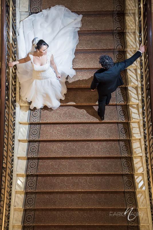 Bride groom Caesars palace staircase