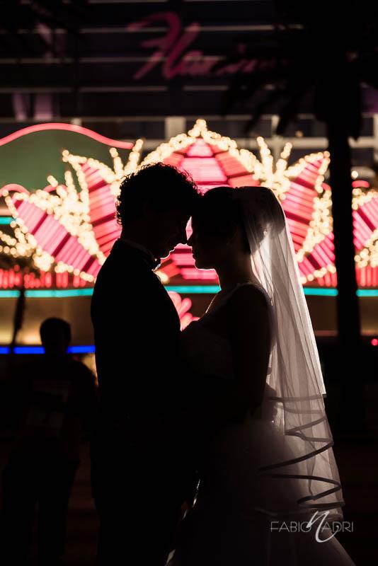 Bride groom silhouette Flamingo Las Vegas