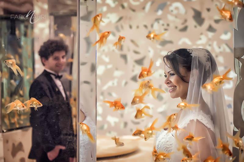 Bride groom aquarium photo
