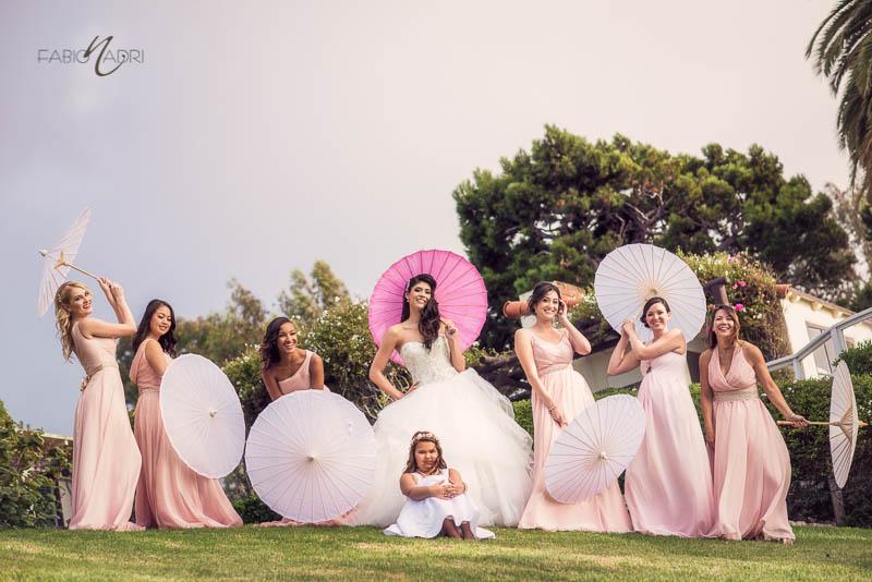 Bride bridesmaids parasol La Venta Inn