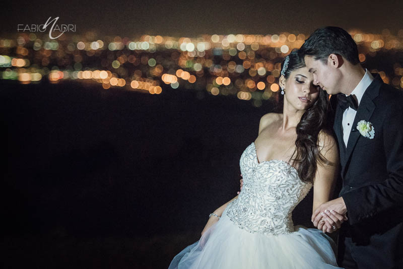 Bride groom LA cityscape