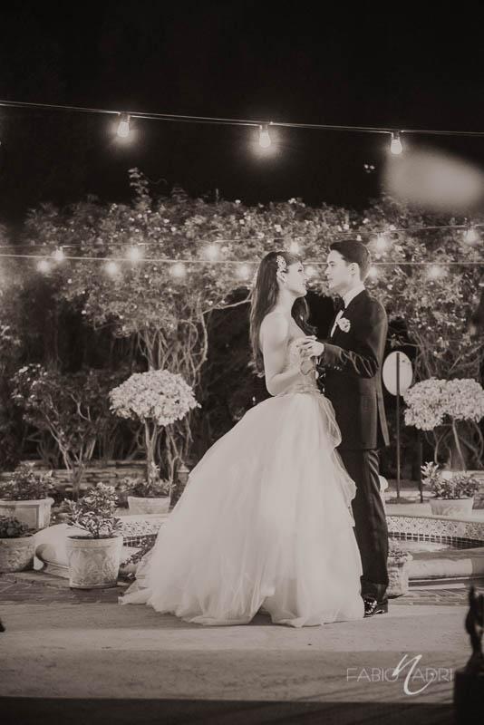 Bride groom bistro string lights