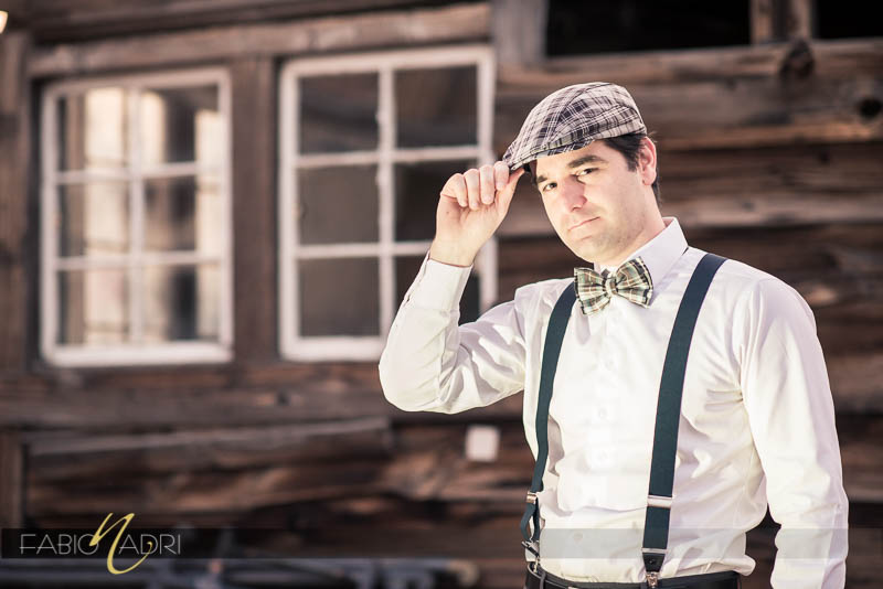 plaid bow tie suspenders and hat