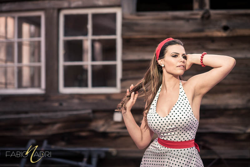 Polka dot dress red accessories