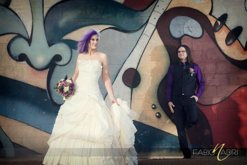 Neon Museum mural edgy wedding photo