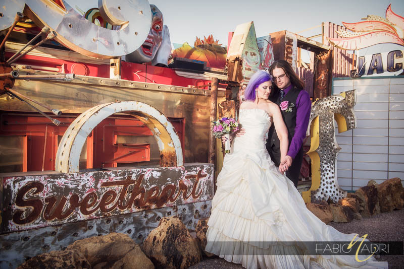 Neon Museum  bride groom sweetheart photo
