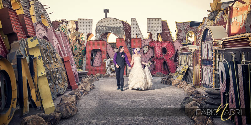 Neon Museum North Gallery bride groom walking photo