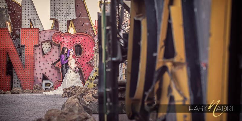 Neon Museum North Gallery bride groom photo