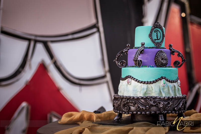 Purple teal gunmetal wedding cake