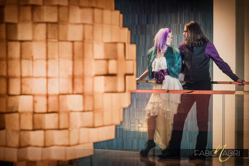 Vdara edgy teal purple wedding couple photo