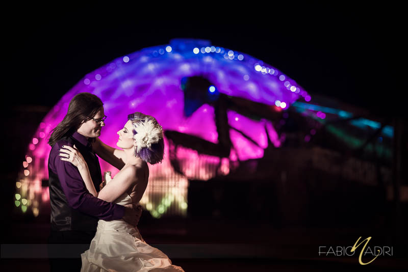 Container park preying mantis wedding couple photo