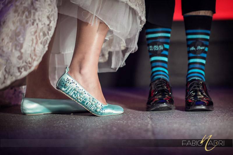 Bride shoes detail groom socks