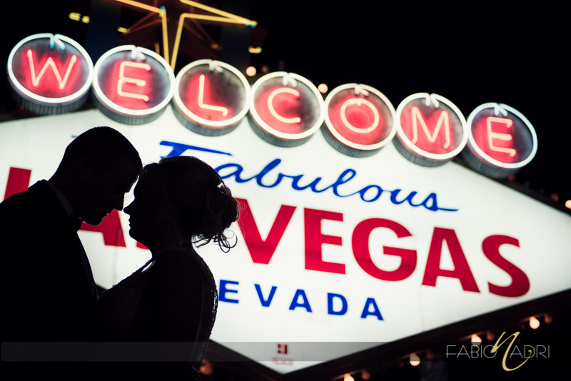 Bride groom las vegas sign silhouette