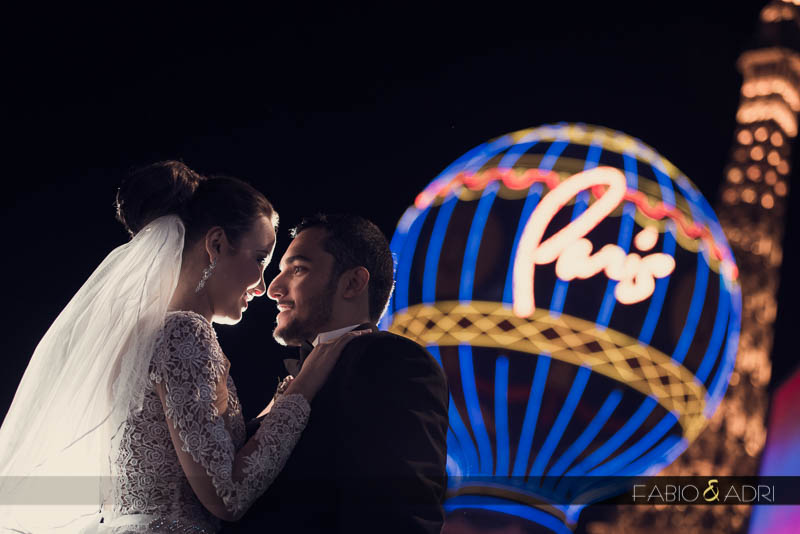 Paris Las Vegas wedding couple picture