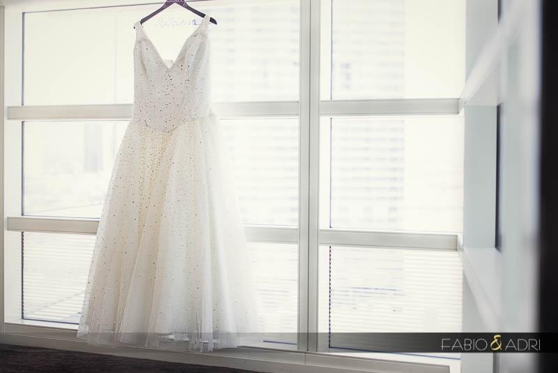 Wedding dress hanging Window ç