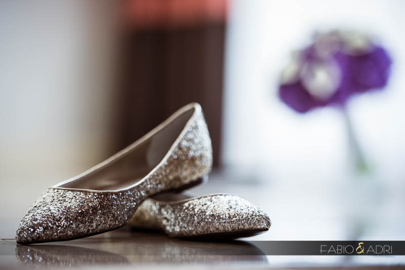 Flat sparkly bridal shoes