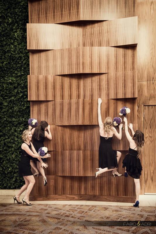 Bridesmaid climbing wall Aria