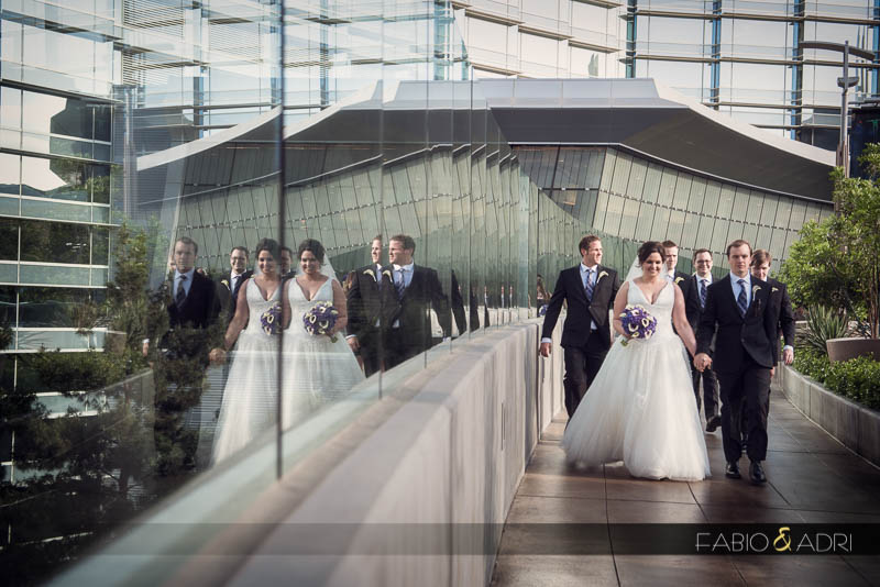 Bridal party walking to Vdara