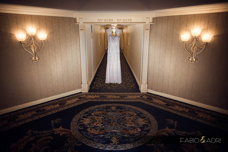 Wedding dress hanging Paris Las Vegas