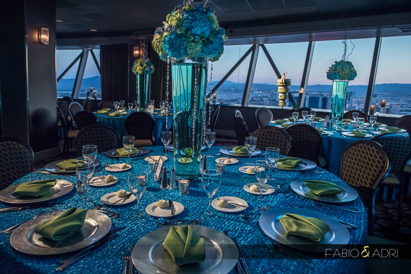 Wedding eception decor turquoise green Stratosphere